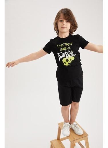 DeFacto Erkek Çocuk Baskılı Kısa Kol Tişört ve Şort Takımı Siyah